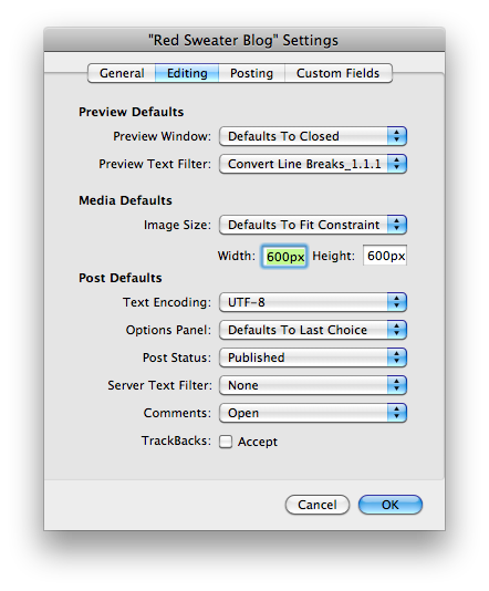 Blog Settings Dialog
