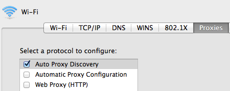 Network preferences screen shot showing Auto Proxy Discovery checkbox.