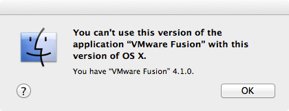 VMWare 4.1.0 refusal to run on 10.8.1.