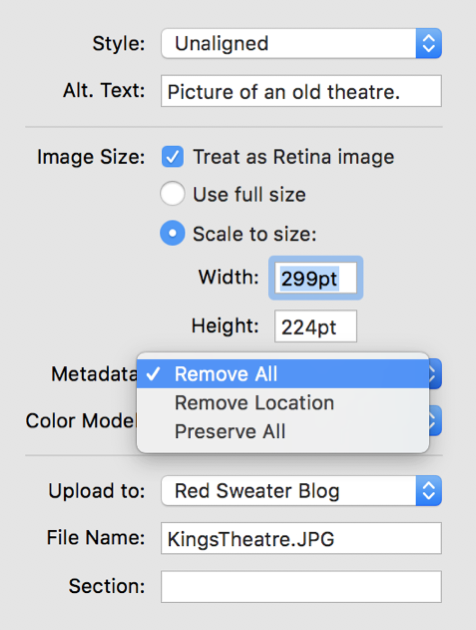 Screenshot of MarsEdit image properties, including a new option to specify metadata preservation.