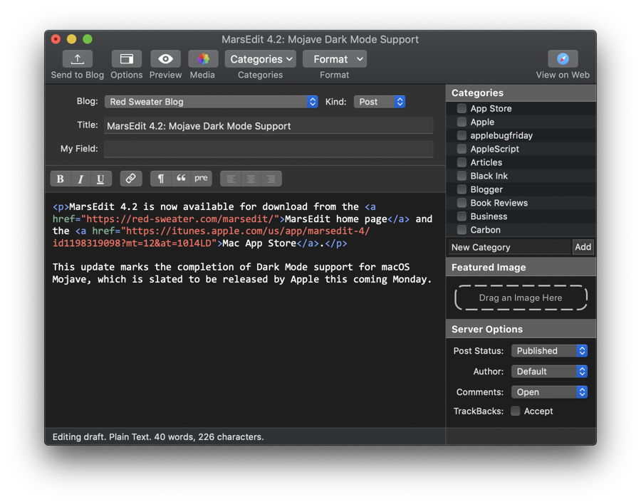 Screenshot of MarsEdit running in Dark Mode on macOS mojave.
