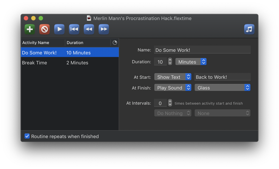 Screenshot of FlexTime's main window with Dark Mode appearance.