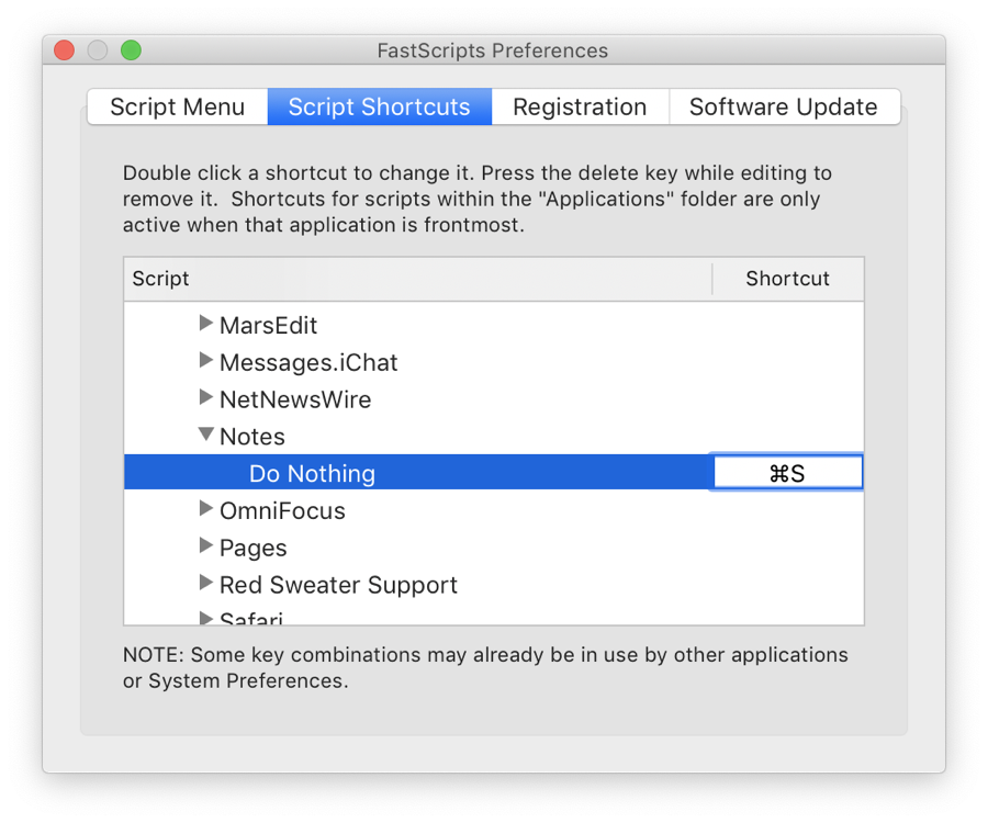 Screenshot of FastScripts Preferences with the keyboard shortcut for