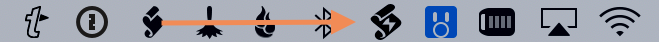Screenshot of the FastScripts icon in the Mac menu bar