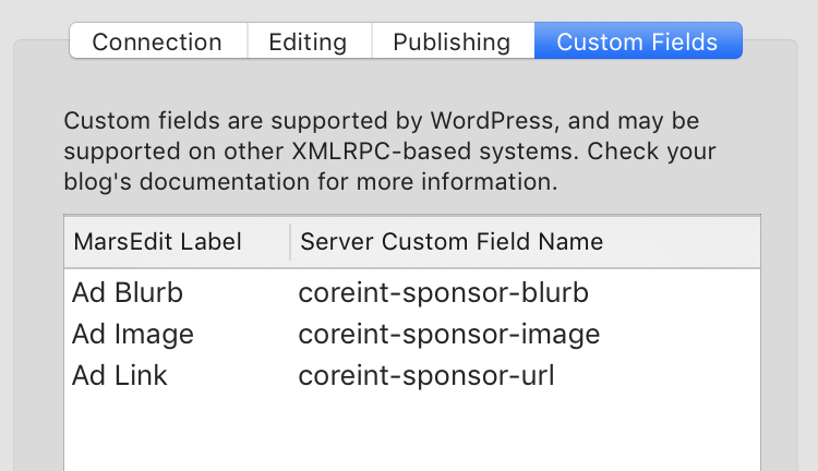 Screenshot of MarsEdit's custom fields configuration UI