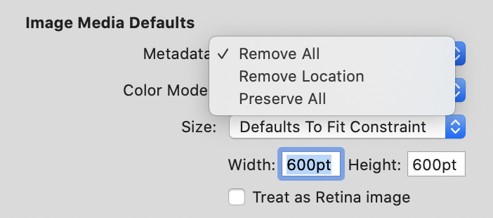 Screenshot of MarsEdit image media defaults including an option to remove metadata