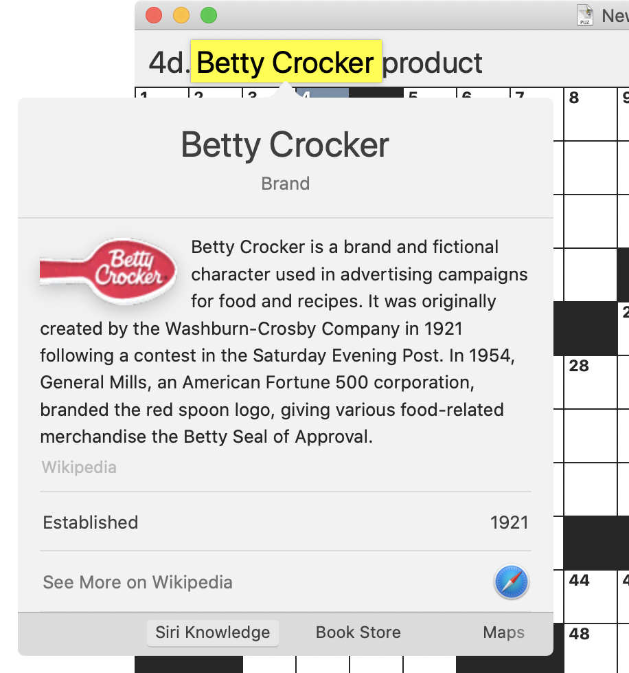 Screenshot of Black Ink crossword app with the words