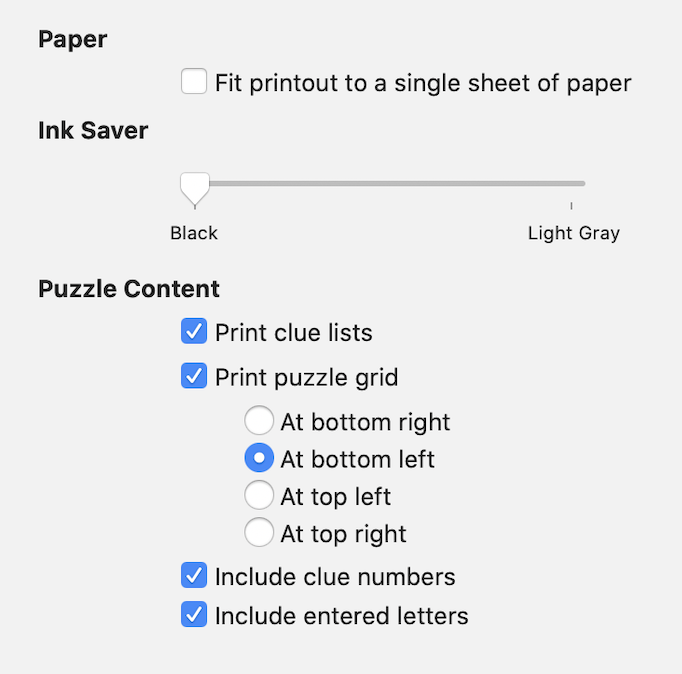 Screenshot of Black Ink's printing options